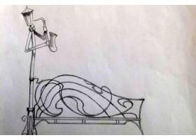 Кованая лавочка-Кованый фонарь №18 Саксафон