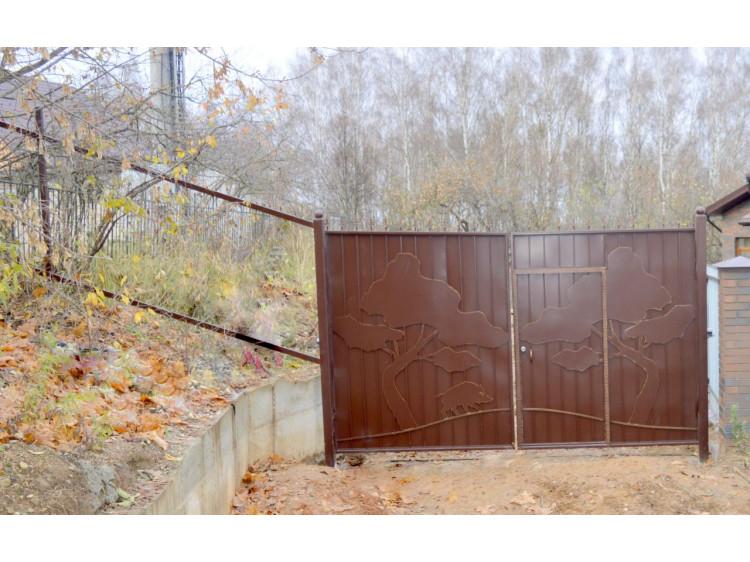 Кованые ворота №3, Лес (распашные) кованые