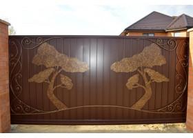 Кованые ворота №4 Дуб (раздвижные)