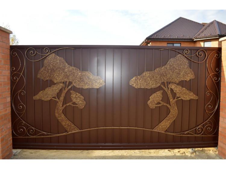 Кованые ворота №4, Дуб (раздвижные) кованые
