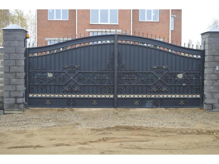 Кованые ворота №6 (раздвижные) кованые